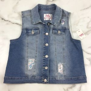 Justice Girls Distressed Sequin Jean Denim Vest